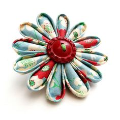 vintage button flower pin