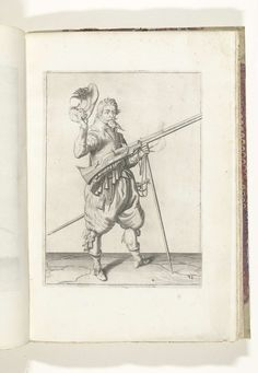 Jacob de Gheyn (II)   Soldaat op wacht die zijn musket met zijn linkerhand bij zijn rechterzijde schuin omhoog gericht vasthoudt, terwijl hij met zijn rechterhand zijn hoed afneemt (nr. 38), ca. 1600, Jacob de Gheyn (II), Robert de Baudous, Hendrick Laurensz, 1597 - 1607   Een soldaat op wacht, ten voeten uit, naar rechts, die een musket (een bepaald type vuurwapen) bij zijn rechterzijde vasthoudt, zijn linkerhand om de vork van het furket (musketvork) waarop de loop, schuin omhoog gericht…