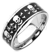 Stainless Steel Matte Finished Crossbones Skull Flat Band Ring