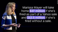 Marissa Mayer could get up to $37 million if Yahoo gets sold