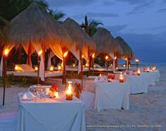 Reception on the beach! At El Dorado Seaside - #Destination #Wedding