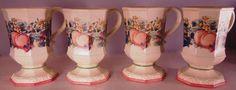 #Vintage Collectible #DiscontinuedPattern Pedestal Mug Set #SweetCountryHarvest #Avon #VintageAvon