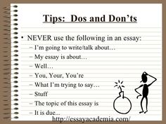 dos and don ts of essay writing The Five Paragraph Essay Essay Writing Examples, Essay Writing Help, Writing Topics, Essay Writer, Sample Essay, Sample Resume, Music Essay, Order Of Operations, Short Essay