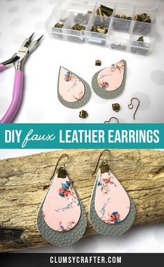 DIY Faux Leather Earrings with Free Cut File - Clumsy Crafte. - DIY Faux Leather Earrings with Free Cut File – Clumsy Crafter DIY Faux Leather Earrings with Fre - Diy Jewelry Unique, Diy Jewelry To Sell, Diy Jewelry Making, Jewelry Crafts, Handmade Jewelry, Earrings Handmade, Beginner Jewelry Making, Diy Jewelry Gifts, Recycled Jewelry