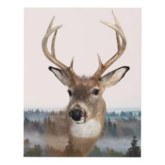 Whitetail Deer Double Exposure Matte Wall Panel Wood Wall Art
