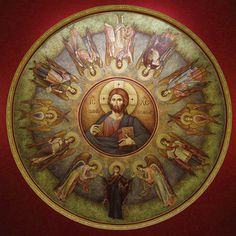 Dome mural of Christ the Pantocrator with the Angels Holly Pictures, Jesus Pictures, Byzantine Icons, Byzantine Art, Catholic Art, Religious Art, Christ Pantocrator, Christ The King, Best Icons