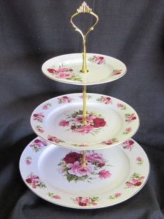 3-Tier Cake Stand Tidbit Tray 10, 8 and 6 inch Bone China Plates Brass Finish Fittings Sheltonian ~ Englan