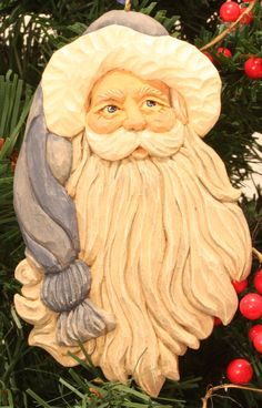 Santa handcarved handpainted Christmas by WasatchWoodcarver