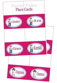 American girl doll Birthday party Place cards by ShopPartyTales, $12.00