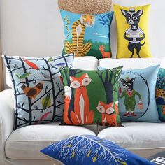 Leopard pillow cartoon animal linen cushions for couch