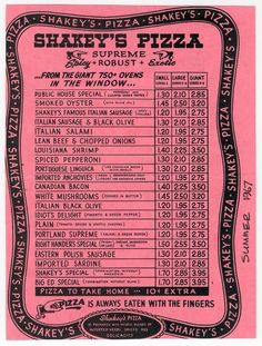 Old Shakey's Pizza Menu