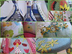 crocheted stool cover at bottom left
