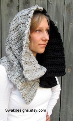 Chunky Cowl Ayanna Hooded Cowl with Horns Womens Scarf Hooded Scarf Handmade Womens Accessories Black & Gray Tweed or CHOOSE Your Colors Crochet Hood, Crochet Cap, Crochet Poncho, Crochet Scarves, Tweed, Hooded Cowl, Knit Basket, Neck Scarves, Womens Scarves