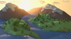 General 1920x1080 low poly digital art landscape mountain sunlight river trees tilt shift