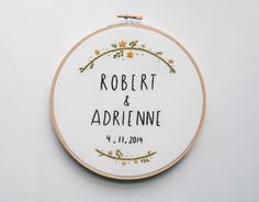 Wedding Hoop Art, Custom Embroidery, Anniversary Gift, Marriage, Couple's Name by KitschAndStitchNY on Etsy https://www.etsy.com/listing/190347359/wedding-hoop-art-custom-embroidery