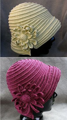 Женская шляпка с подробным описанием для вязания крючком.