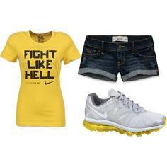 """""""fight like hell"""" nike livestrong shirt, hollister shorts, and nike shoes.."""