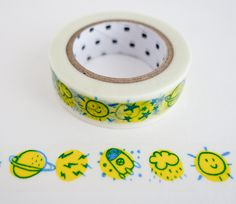 Single roll of washi masking tape with outer space pattern (color may vary slightly). Great for travel journals, scrapbooking, gift wrapping, decorating cards and envelopes and more! Add a little dash