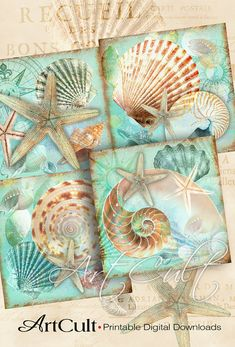 SEA WORLD - Digital Collage Sheet Printable download 3.8x3.8 inch size Images for coasters, paper craft, home decor, iron on transfer, DIY