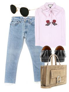 """""""Untitled #5161"""" by rachellouisewilliamson on Polyvore featuring Gucci and Ray-Ban"""