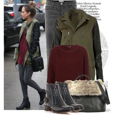 """Army (Jacket) Wives: Celebs Adore the Contrast-Sleeve Coat  """"Dress like JAlba!!!!"""" by lartiste on Polyvore"""