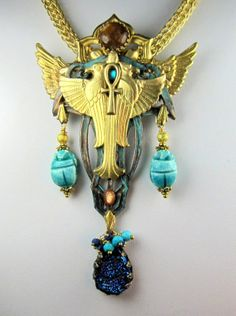 Egyptian Jewelry, Winged Horus Pendant on Viking knit Chain, Art Deco Revival, Horus with Scarabs, Sparkling Druzy, Faience Scarabs