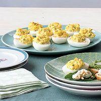 Hot Deviled Eggs | http://www.rachaelraymag.com/recipes/rachael-ray-magazine-recipe-search/appetizer-starter-recipes/Hot-Deviled-Eggs