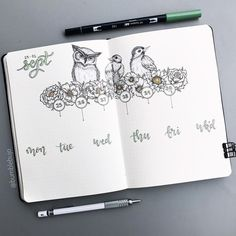 Check out this gorgeous, detailed weekly format for your bullet journal! Creative and inspirational bird theme that allows for plenty of space to write and track your work. Bird theme is fun and clever. DIY layout!