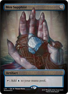 Mox Sapphire If you have any suggestions for a card you would like to see let me know. Game Card Design, Mtg Altered Art, Magic The Gathering Cards, Cool Art, Awesome Art, Magic Cards, Wizards Of The Coast, Dungeons And Dragons, Game Art