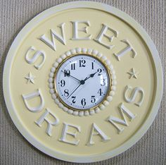 Sweet Dreams Children's clock by Marie Ricci. Shown in distressed yellow.