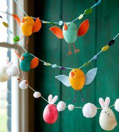basteln mit kindern-girlande Ostern-Ideen Hasen-küken