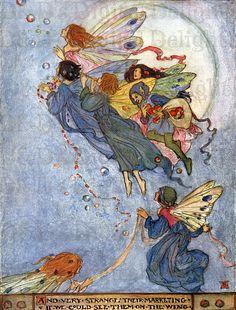 Fantastical Fairies Flying Through the Skies/ VINTAGE  DIGITAL Illustration/Florence Harrison