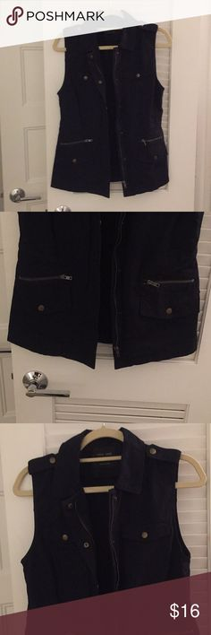 NWOT Navy Vest Size Small New Without Tags Women's Navy Vest Size Small. Utility looking style vest. Features four pockets (two zipper pockets and two button snap pockets) Zips up and/or snaps up. Worn once in picture. Like new!  Open to reasonable serious offers. Love Tree Jackets & Coats Vests