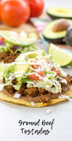 Ground Beef Tostadas Taco Tuesday recipes Cinco de Mayo recipes how to make tostadas corn tortilla tostada spicy ground beef. easy dinner recipes recipes for dinner Enchiladas, Latin Food, Best Ground Beef Recipes, Ground Beef Recipes Mexican, Tostada Recipes, Ground Beef Tacos, Quesadillas, Salsa Verde, Healthy Lunches