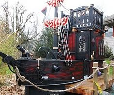 Give your little adventurer and his crew of miscreants a safe place to tire themselves out by installing this pirate ship playhouse in the backyard. The interior comes with high tech features like an on-board computer and working lights. Castle Playhouse, Outside Playhouse, Backyard Playhouse, Build A Playhouse, Backyard Playground, Backyard For Kids, Kids Playhouse Plans, Cubby Houses, Play Houses