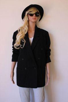 VINTAGE JACKET Black BLAZER 80's Indie BOHO retro BOYFRIEND wool CLASSIC coat
