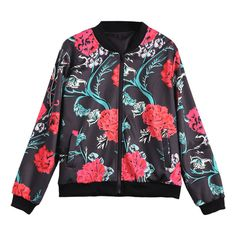 Zip Up Floral Print Bomber Jacket ($28) ❤ liked on Polyvore featuring outerwear, jackets, flower print bomber jacket, zip up jackets, flight jacket, style bomber jacket and blouson jacket