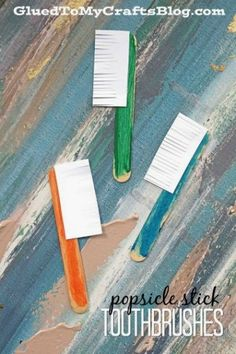 Popsicle Stick Toothbrushes - Dental Hygiene Kid Craft Idea activities for kids art projects Popsicle Stick Toothbrushes- Dental Inspired Kid Craft Preschool Projects, Preschool Art, Preschool Activities, Crafts For Kids, Teeth Projects For Kids, Space Activities, Art Projects, Hygiene Lessons, Dental Health Month