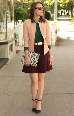 Sophisticated color mix Burgundy skirt gold belt hunter green blouse blush blazer