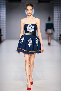 CENTRAL EUROPEAN SHOWS / BUDAPEST / JANA GAVALCOVA / TRUE BLUE / folk dress Old World, Indigo, Folk, Strapless Dress, Style Inspiration, Budapest, How To Wear, Blue, Fashion Design