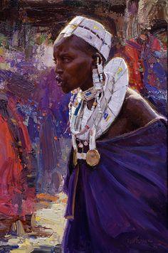 Scott Burdick 2009 'Maasai Woman'. Mooi expressionisme in achtergrond en kleding.
