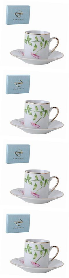 Cups and Saucers 36029: Porcelain Bone China Espresso Turkish Coffee Demitasse Set Of 6 Delicate Floral -> BUY IT NOW ONLY: $44.41 on eBay!