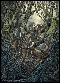 """""""They picked a way among the trees, and their ponies plodded along, carefully avoiding the many writhing and interlacing roots. There was no undergrowth. The Old Forest Tolkien Books, Jrr Tolkien, Fantasy Paintings, Fantasy Art, Fantasy Landscape, Midle Earth, Merry And Pippin, Forest Drawing, Fairytale Art"""