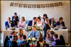 Lovely busy scene at the start of the wedding breakfast at Rivervale Barn -