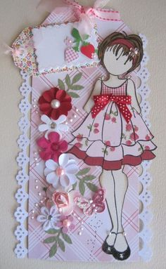 GIRL STRAWBERRY Prima Paper Doll Tag pre-made for scrapbook papers ♡