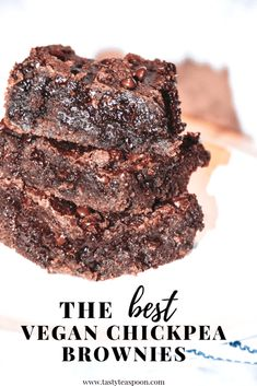 These Vegan Chickpea Fudge Brownies are a healthy, low-calorie alternative to regular brownies. The brownies are gluten-free, dairy-free, and vegan! The post Vegan Chickpea Fudge Brownies appeared first on Tasty Teaspoon. Vegan Sweets, Healthy Sweets, Healthy Baking, Vegan Desserts, Dessert Recipes, Health Desserts, Dinner Recipes, Bar Recipes, Free Recipes