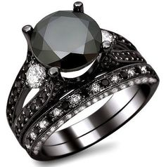 4.80ct black round diamond engagement ring bridal set 14k black gold