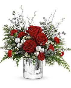 Christmas Flowers Delivery Louisa KY - Farmhouse Memories Christmas Flowers, Gold Christmas, Christmas Wreaths, Flowers Today, All Flowers, St Lucie, Christmas Flower Arrangements, Red Carnation, Holiday Gifts