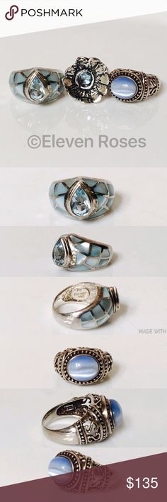 Lot of 3 Assorted Sterling Silver Blue Stone Rings Lot of 3 Assorted Blue Stone Rings -  925 Sterling Silver - Assorted Sizes - Assorted Styles - All Hallmarked As 925 (Sterling Silver) -  Preowned / Preloved  💕 May Show Slight Signs Of Having Been Worn.   📷  Listing Images Are Of Actual Item Being Offered.  ***Free Ring Sizing Tool With Purchase (as shown in last image)*** Jewelry Rings