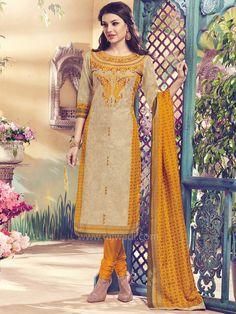 Cotton Silk Round Neck Churidar Suit by Shagufta... #rajwadi #readytowear #suit #shagufta #partywear #churidarsuitonline #designersuits #casualwear